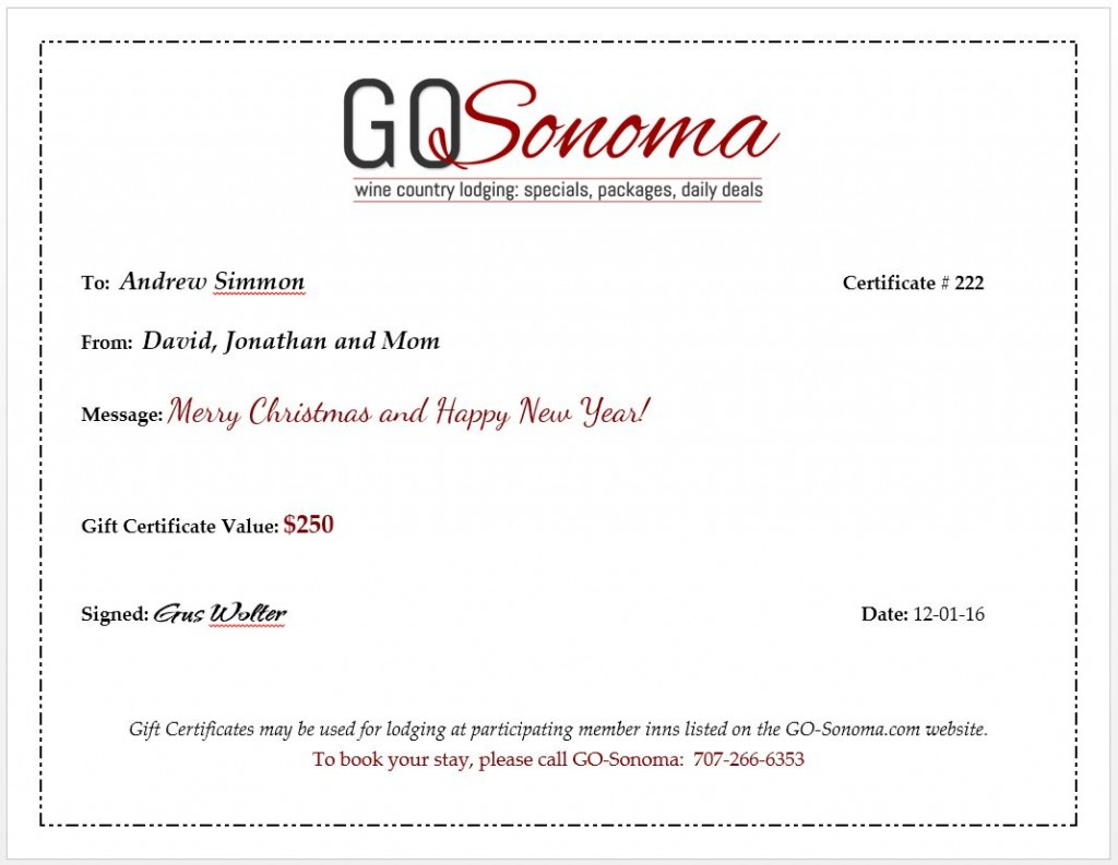 sonoma wine country bed and breakfast inn gift certificates