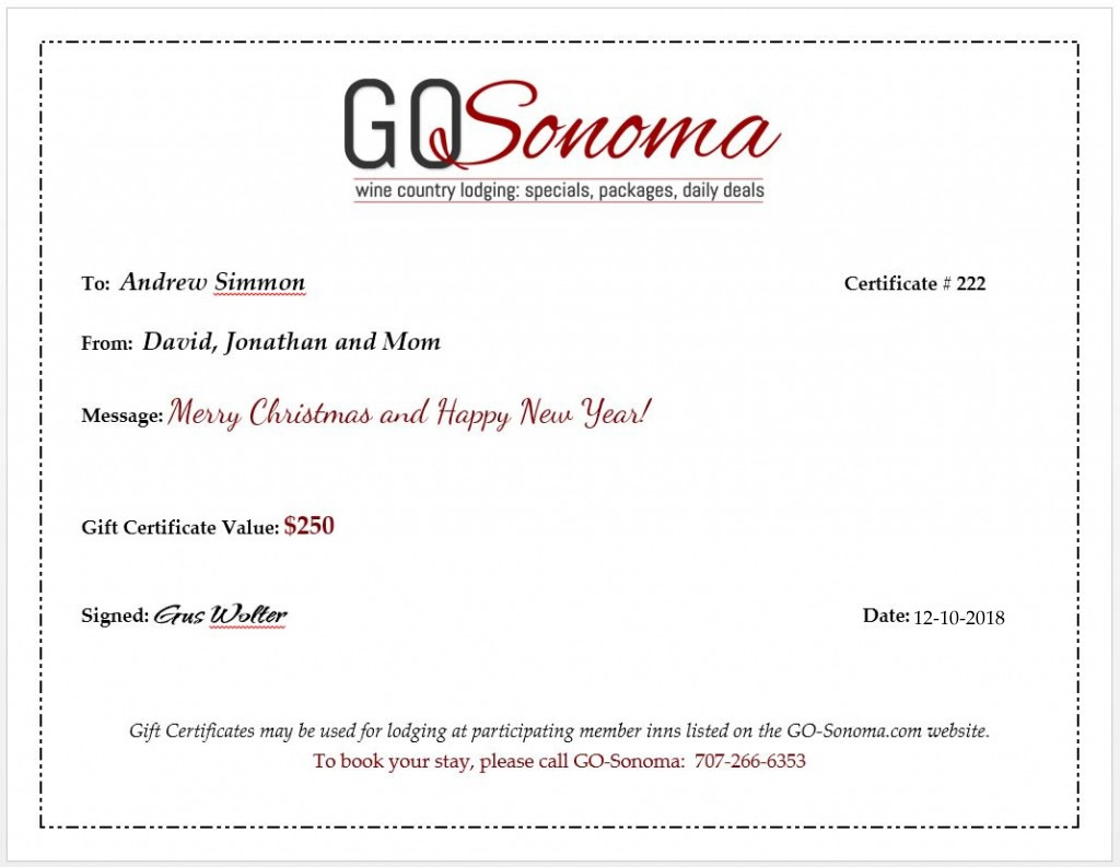 sonoma wine country lodging gift certificates specials packages